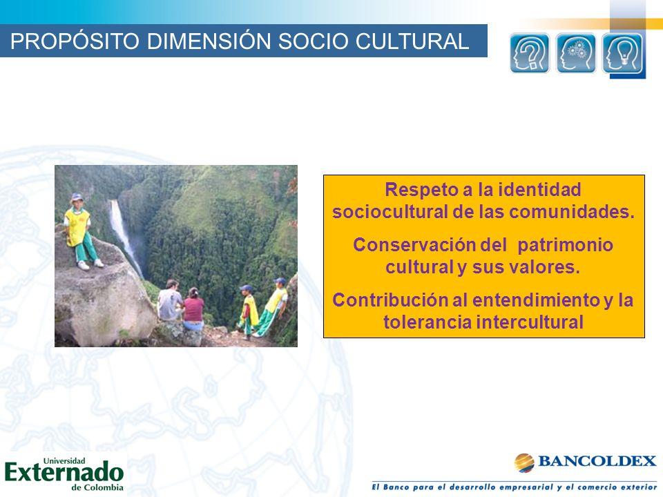 PROPÓSITO DIMENSIÓN SOCIO CULTURAL