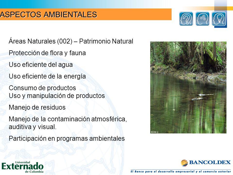 ASPECTOS AMBIENTALES Áreas Naturales (002) – Patrimonio Natural