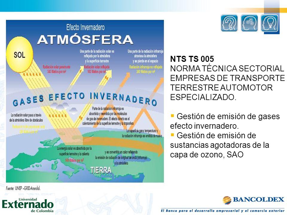 NTS TS 005 NORMA TÉCNICA SECTORIAL. EMPRESAS DE TRANSPORTE TERRESTRE AUTOMOTOR ESPECIALIZADO. Gestión de emisión de gases efecto invernadero.