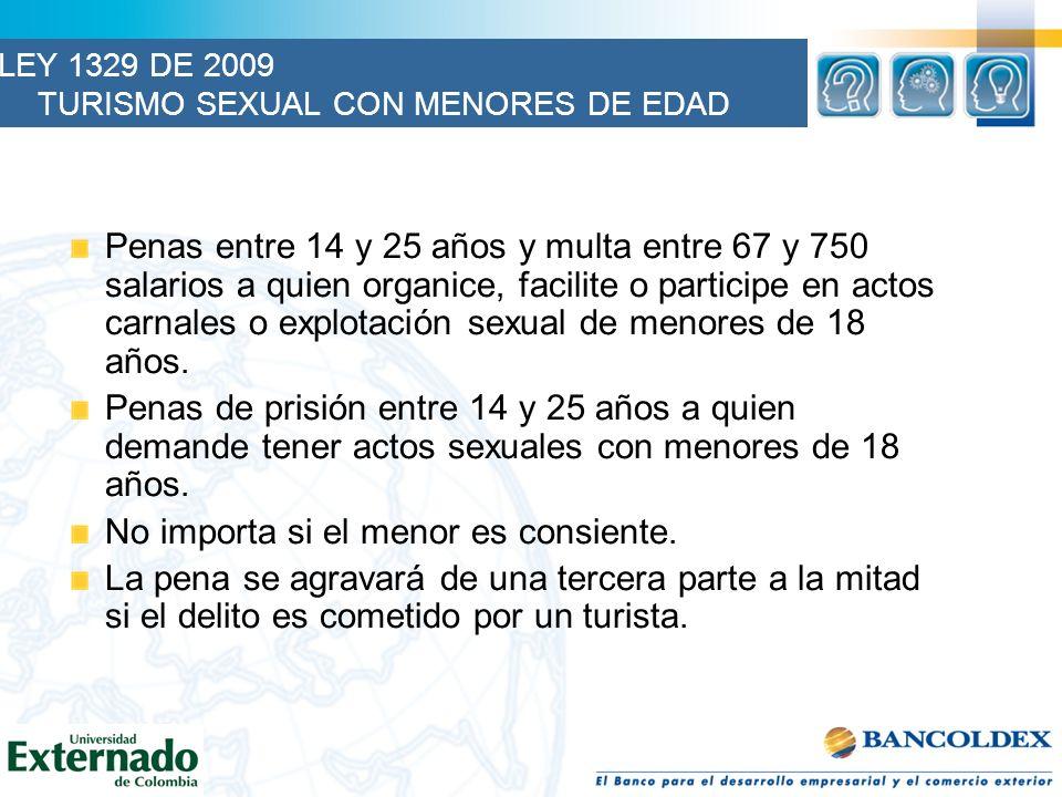 LEY 1329 DE 2009 TURISMO SEXUAL CON MENORES DE EDAD