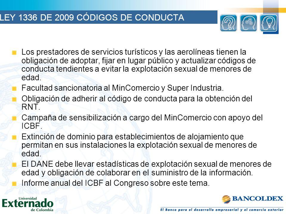 LEY 1336 DE 2009 CÓDIGOS DE CONDUCTA