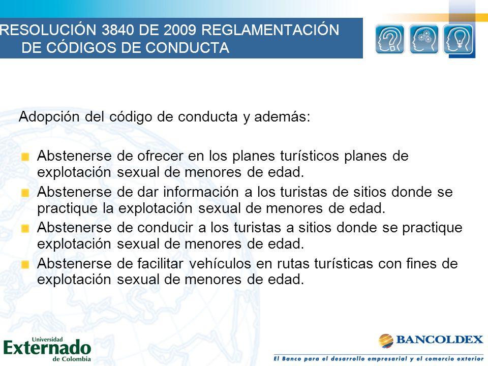 RESOLUCIÓN 3840 DE 2009 REGLAMENTACIÓN DE CÓDIGOS DE CONDUCTA