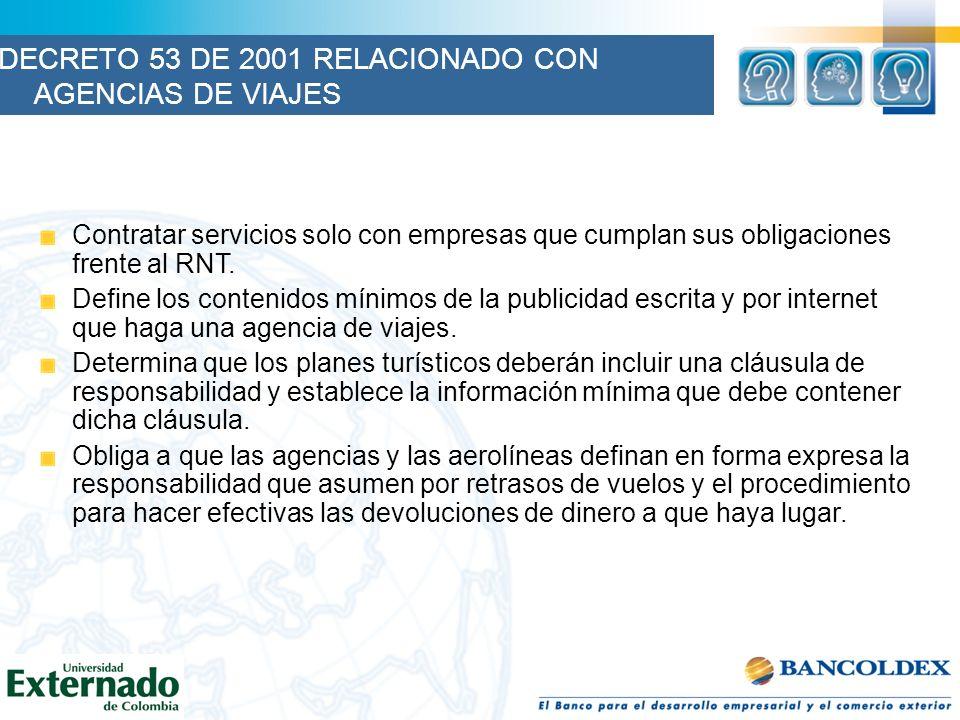 DECRETO 53 DE 2001 RELACIONADO CON AGENCIAS DE VIAJES