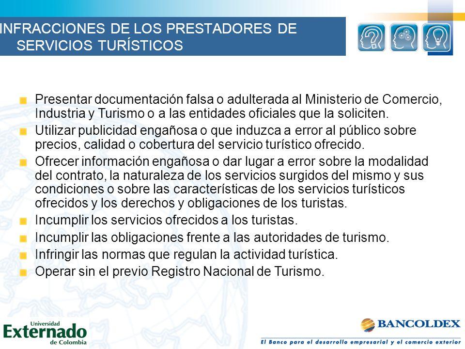 INFRACCIONES DE LOS PRESTADORES DE SERVICIOS TURÍSTICOS