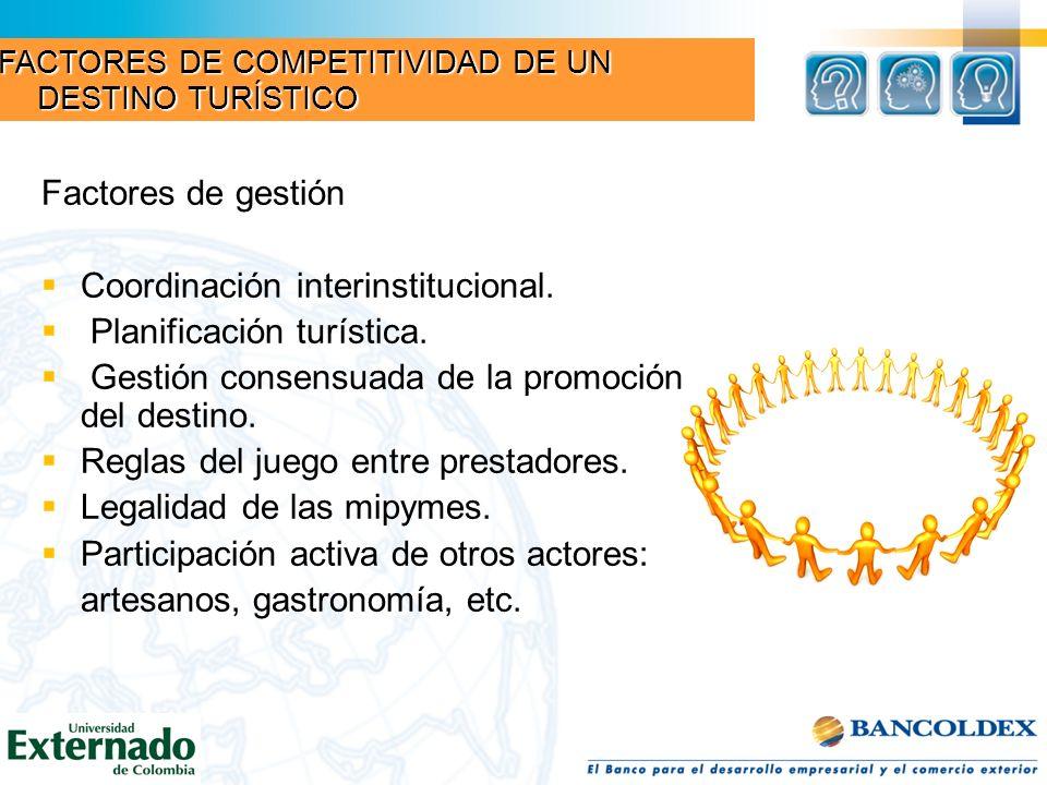 Coordinación interinstitucional. Planificación turística.