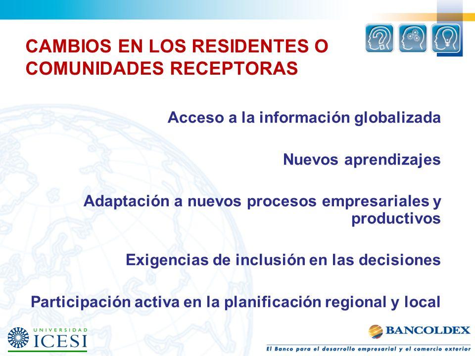 CAMBIOS EN LOS RESIDENTES O COMUNIDADES RECEPTORAS