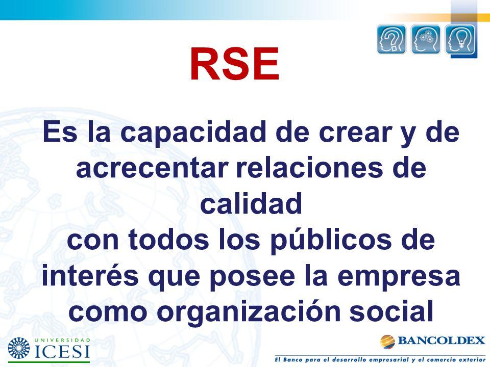 RSE Es la capacidad de crear y de acrecentar relaciones de calidad con todos los públicos de interés que posee la empresa como organización social.