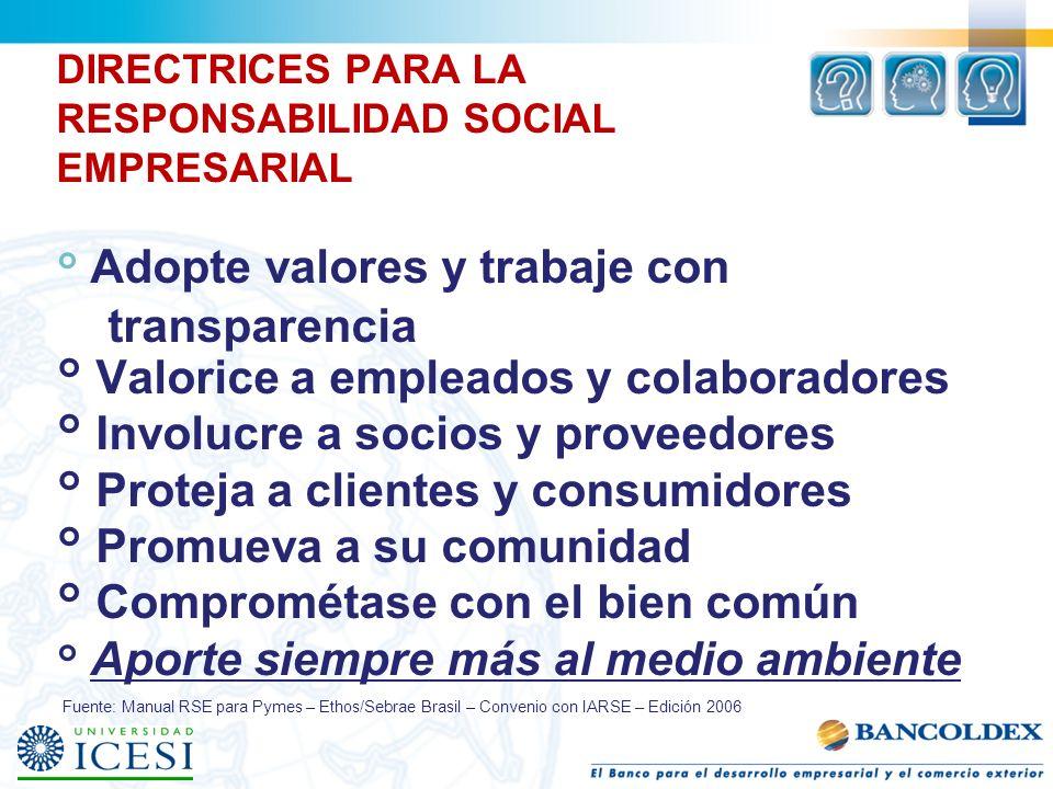 DIRECTRICES PARA LA RESPONSABILIDAD SOCIAL