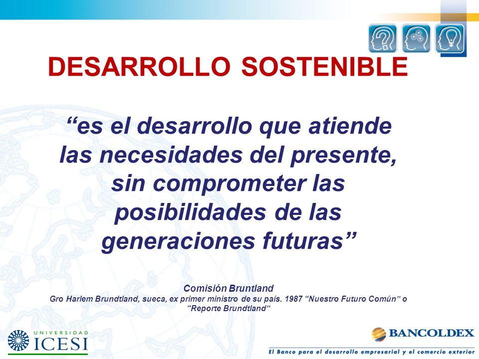 DESARROLLO SOSTENIBLE es el desarrollo que atiende las necesidades del presente, sin comprometer las posibilidades de las generaciones futuras