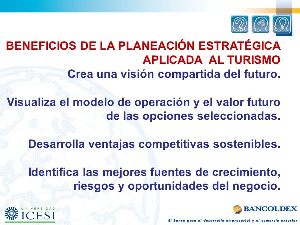 BENEFICIOS DE LA PLANEACIÓN ESTRATÉGICA APLICADA AL TURISMO Crea una visión compartida del futuro.
