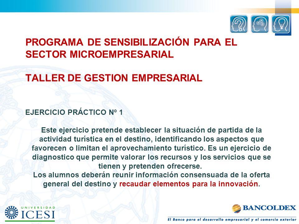 PROGRAMA DE SENSIBILIZACIÓN PARA EL SECTOR MICROEMPRESARIAL TALLER DE GESTION EMPRESARIAL EJERCICIO PRÁCTICO Nº 1