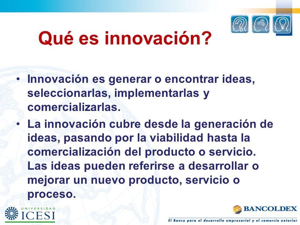 Qué es innovación Innovación es generar o encontrar ideas, seleccionarlas, implementarlas y comercializarlas.