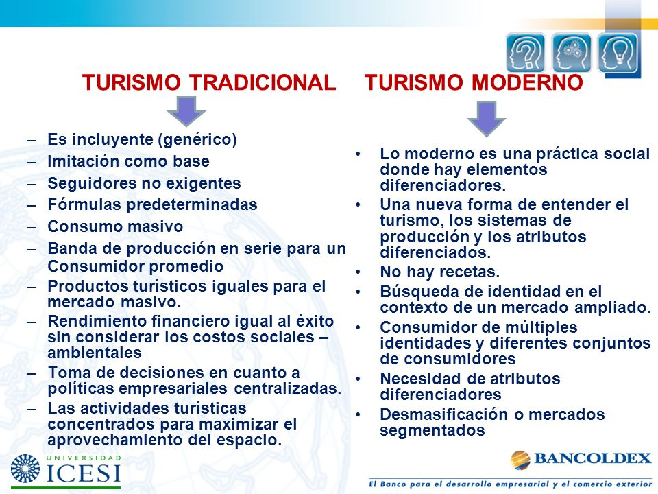 TURISMO TRADICIONAL TURISMO MODERNO