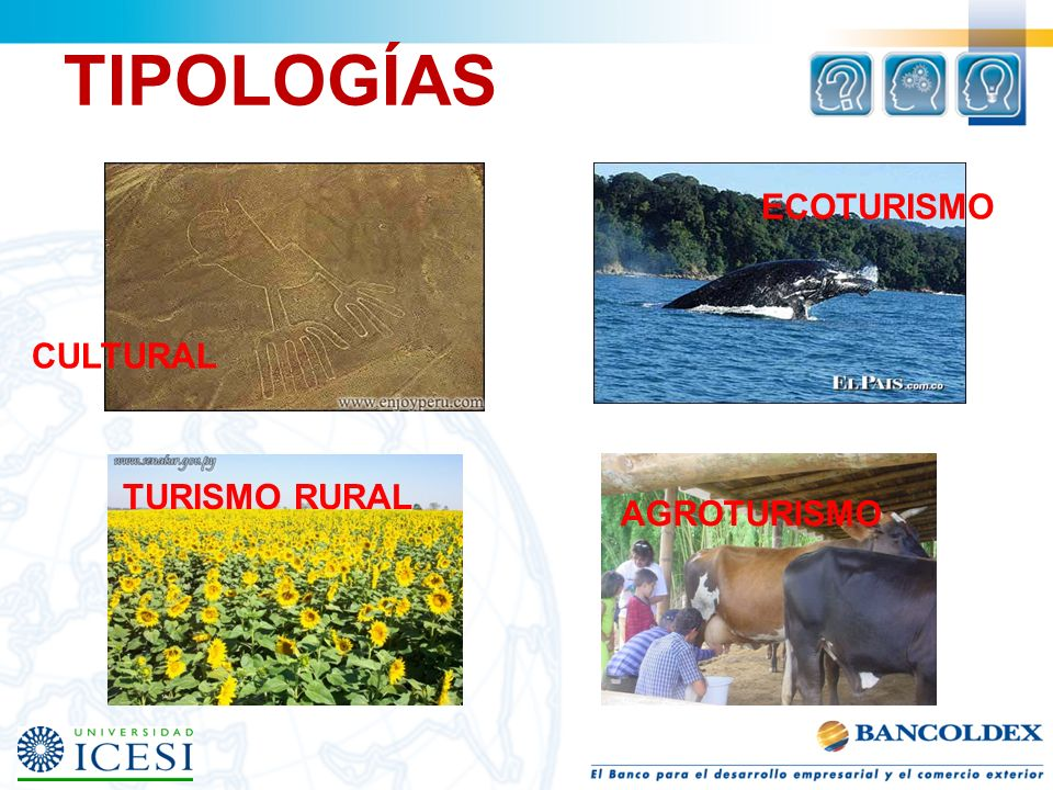 TIPOLOGÍAS ECOTURISMO CULTURAL TURISMO RURAL AGROTURISMO