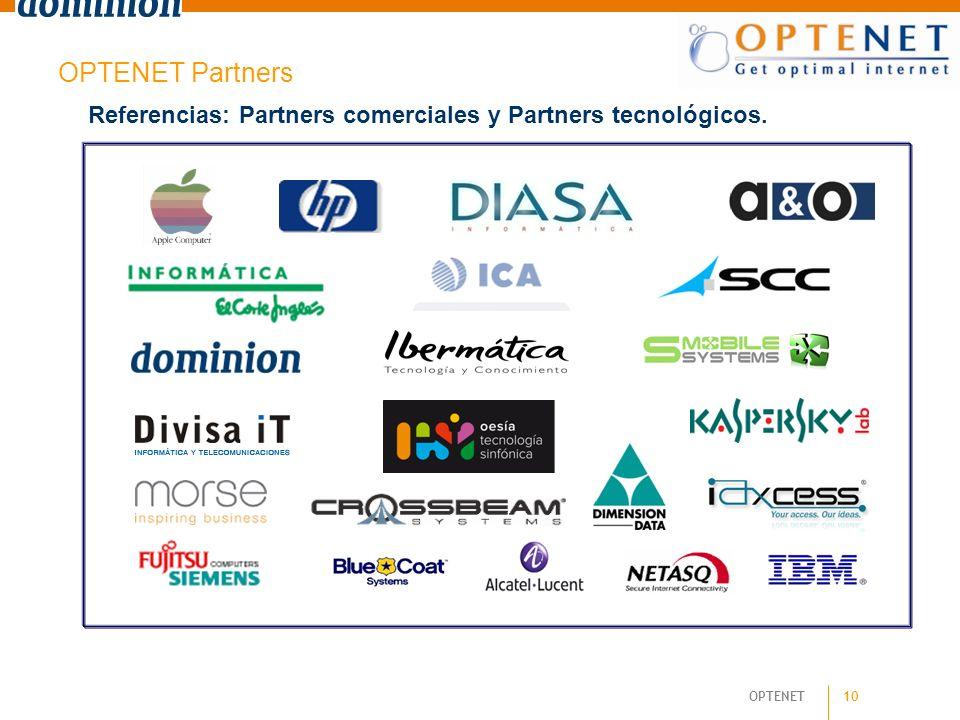OPTENET Partners Referencias: Partners comerciales y Partners tecnológicos. 10 10