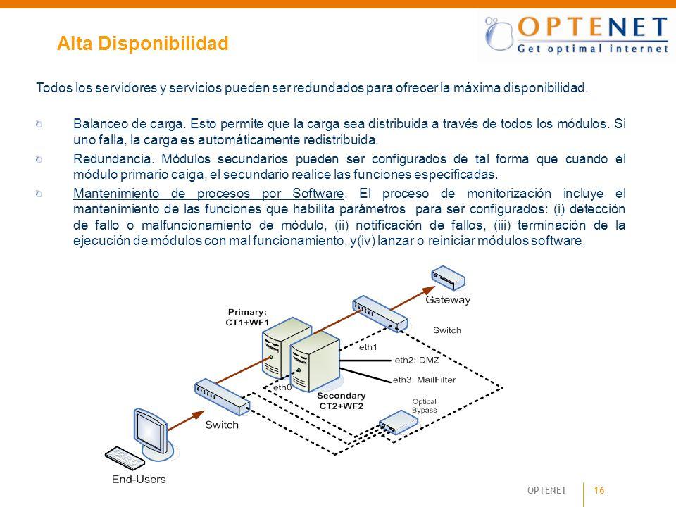 Alta DisponibilidadTodos los servidores y servicios pueden ser redundados para ofrecer la máxima disponibilidad.