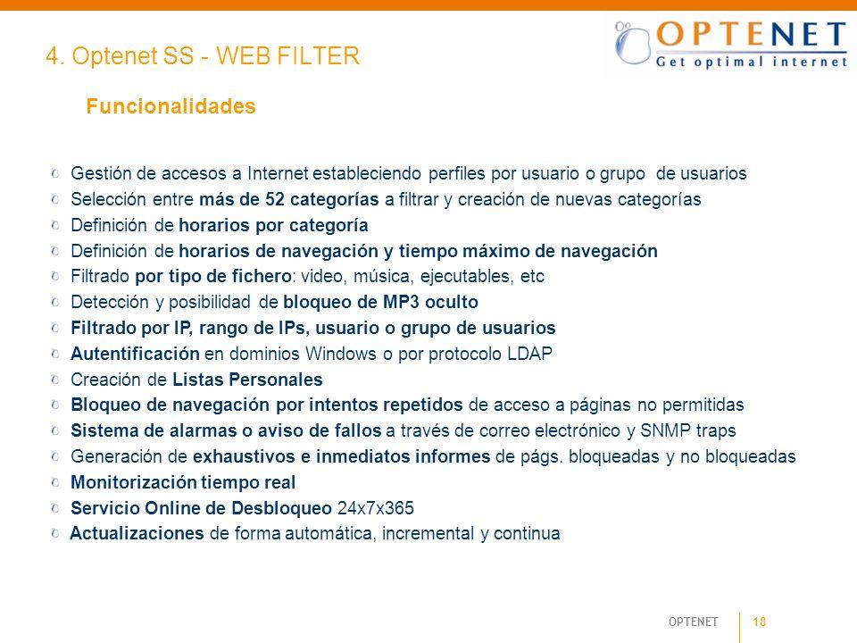 4. Optenet SS - WEB FILTER Funcionalidades