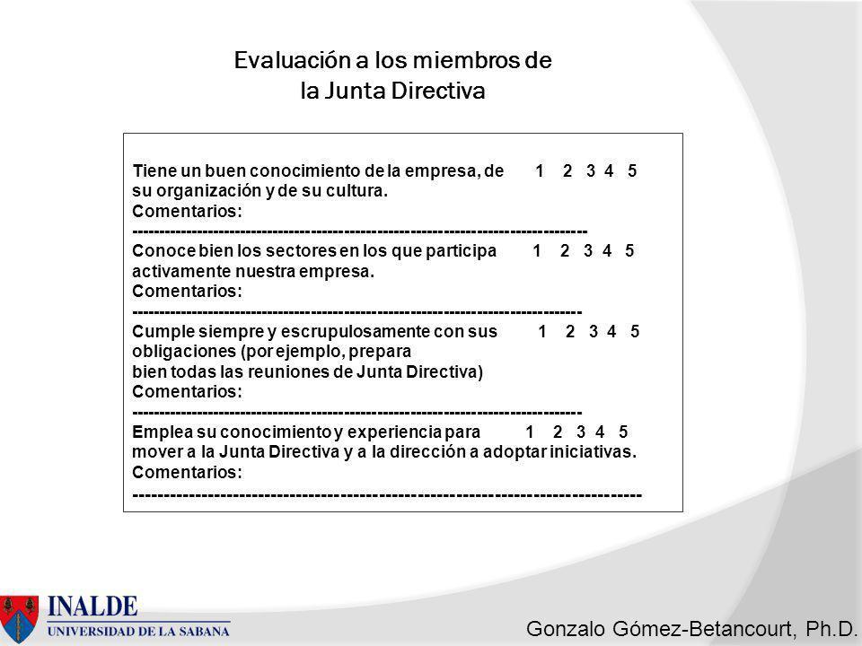 Evaluación a los miembros de la Junta Directiva
