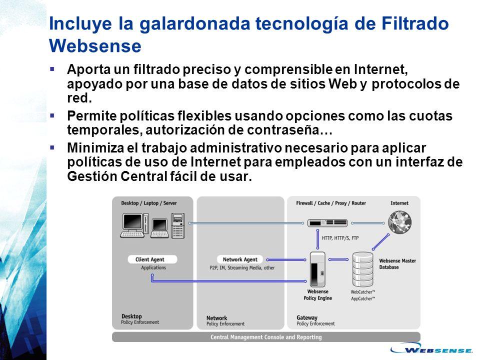 Incluye la galardonada tecnología de Filtrado Websense