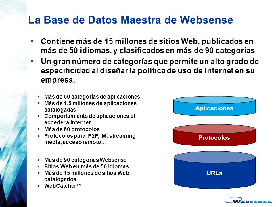 La Base de Datos Maestra de Websense