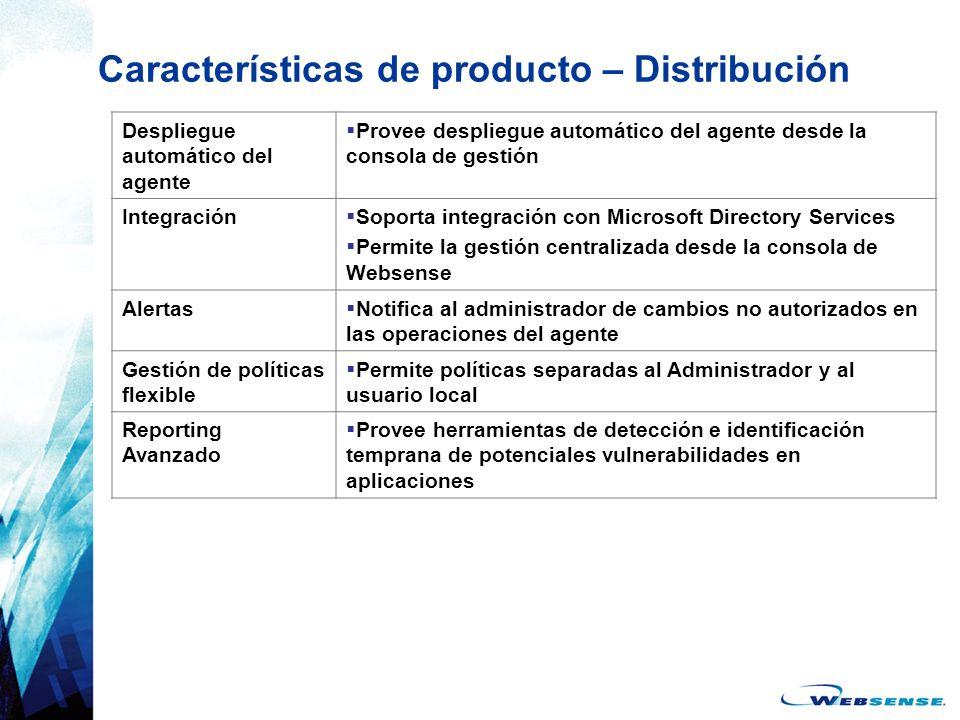 Características de producto – Distribución