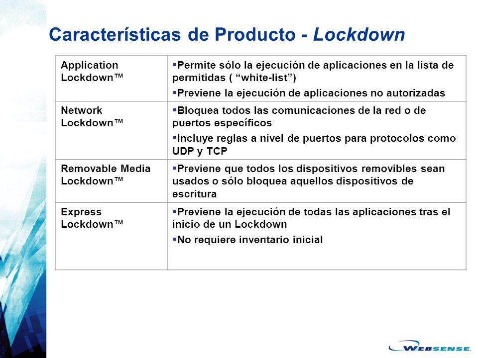 Características de Producto - Lockdown