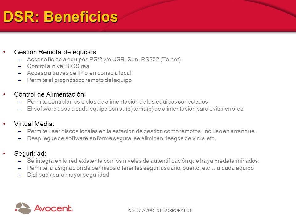 DSR: Beneficios Gestión Remota de equipos Control de Alimentación: