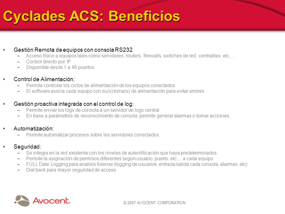 Cyclades ACS: Beneficios
