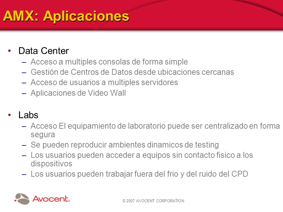 AMX: Aplicaciones Data Center Labs