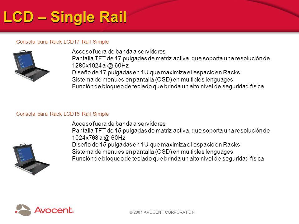 LCD – Single Rail Acceso fuera de banda a servidores