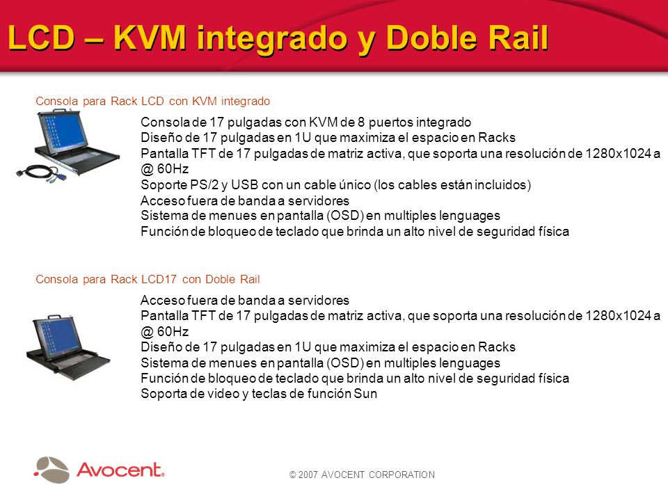 LCD – KVM integrado y Doble Rail