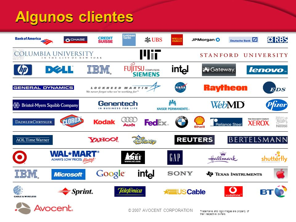 Algunos clientes © 2007 AVOCENT CORPORATION