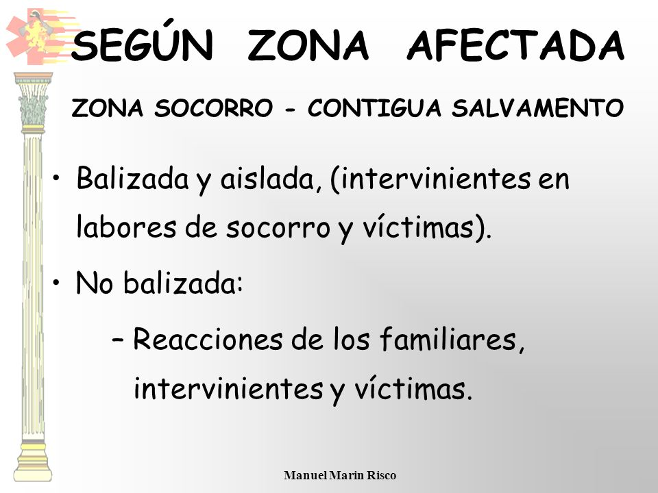 SEGÚN ZONA AFECTADA ZONA SOCORRO - CONTIGUA SALVAMENTO