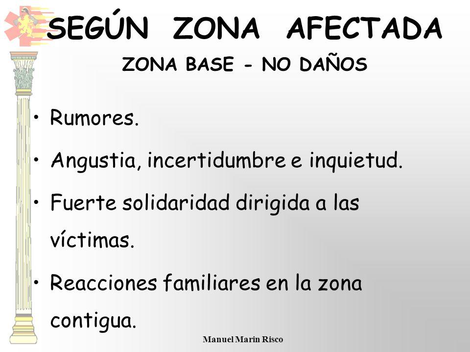 SEGÚN ZONA AFECTADA ZONA BASE - NO DAÑOS