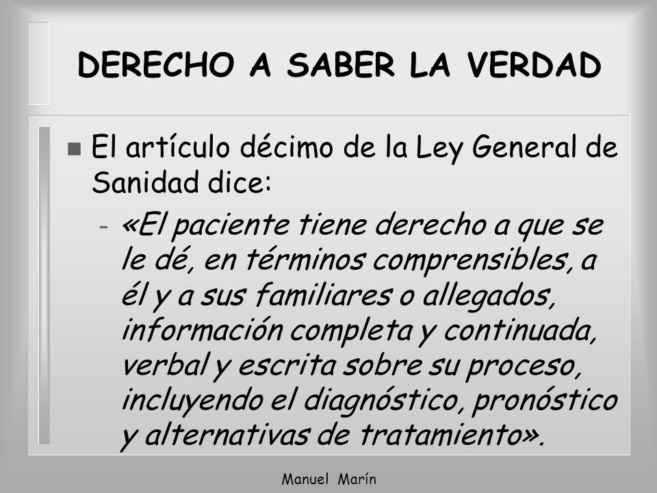 DERECHO A SABER LA VERDAD