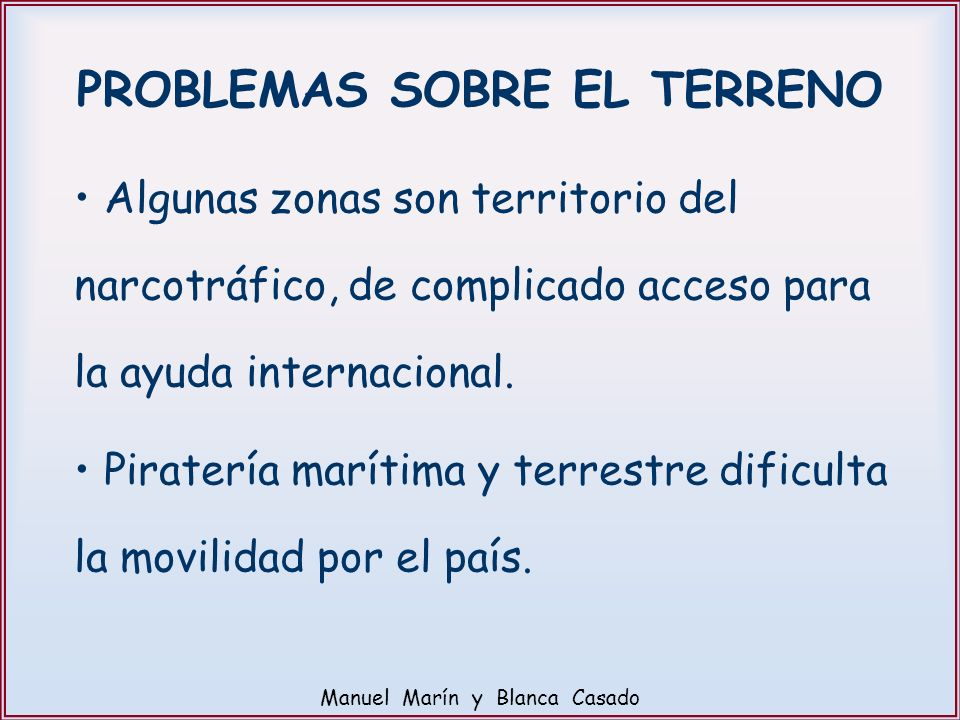 PROBLEMAS SOBRE EL TERRENO
