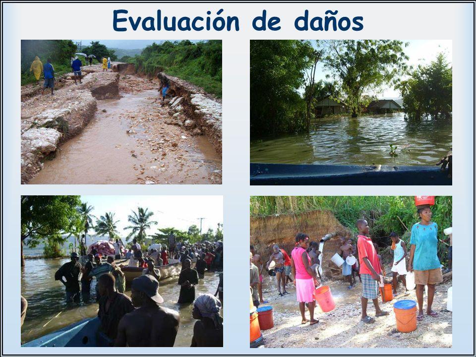 Evaluación de daños Se inspeccionan varios lugares y se comunica a España las necesidades de la zona asignada.