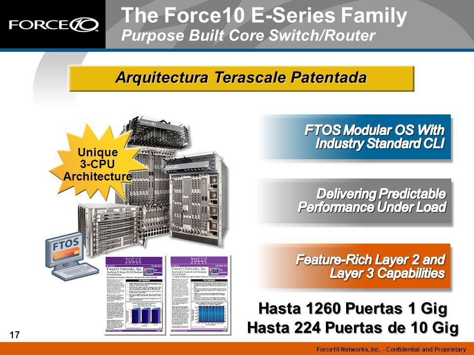 The Force10 E-Series Family Purpose Built Core Switch/Router