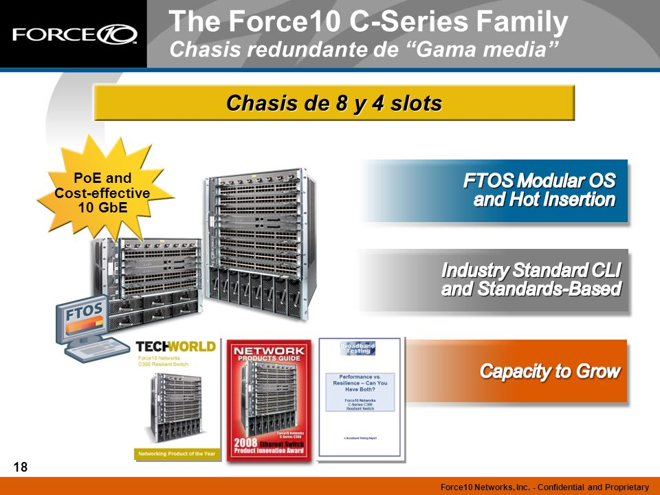 The Force10 C-Series Family Chasis redundante de Gama media