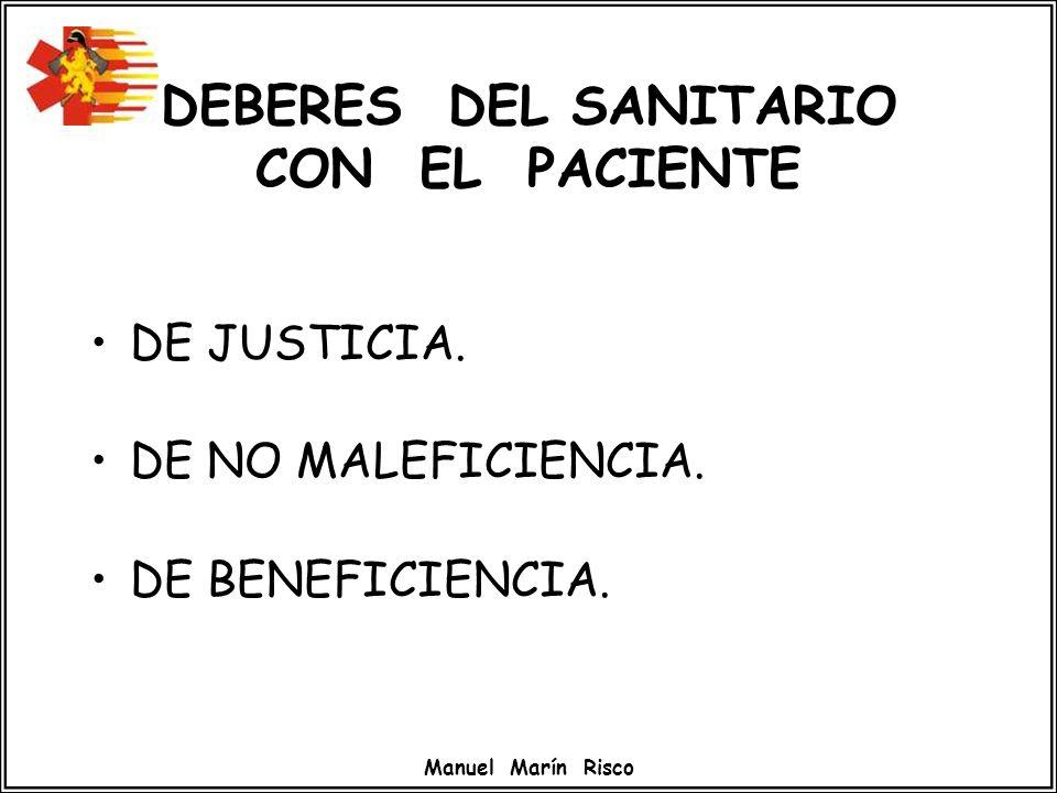 DEBERES DEL SANITARIO CON EL PACIENTE