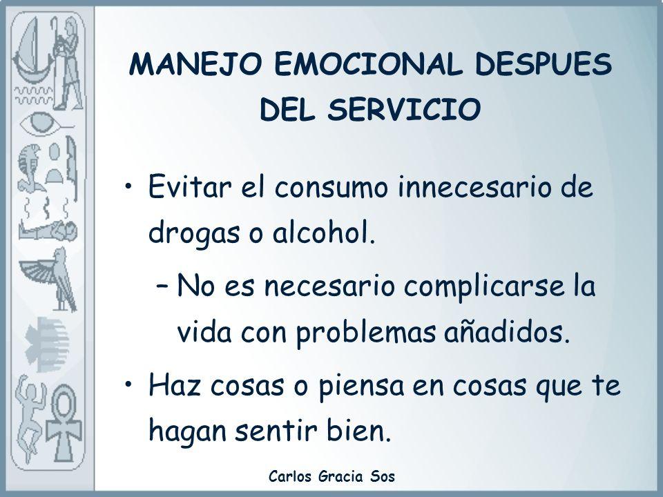 MANEJO EMOCIONAL DESPUES DEL SERVICIO