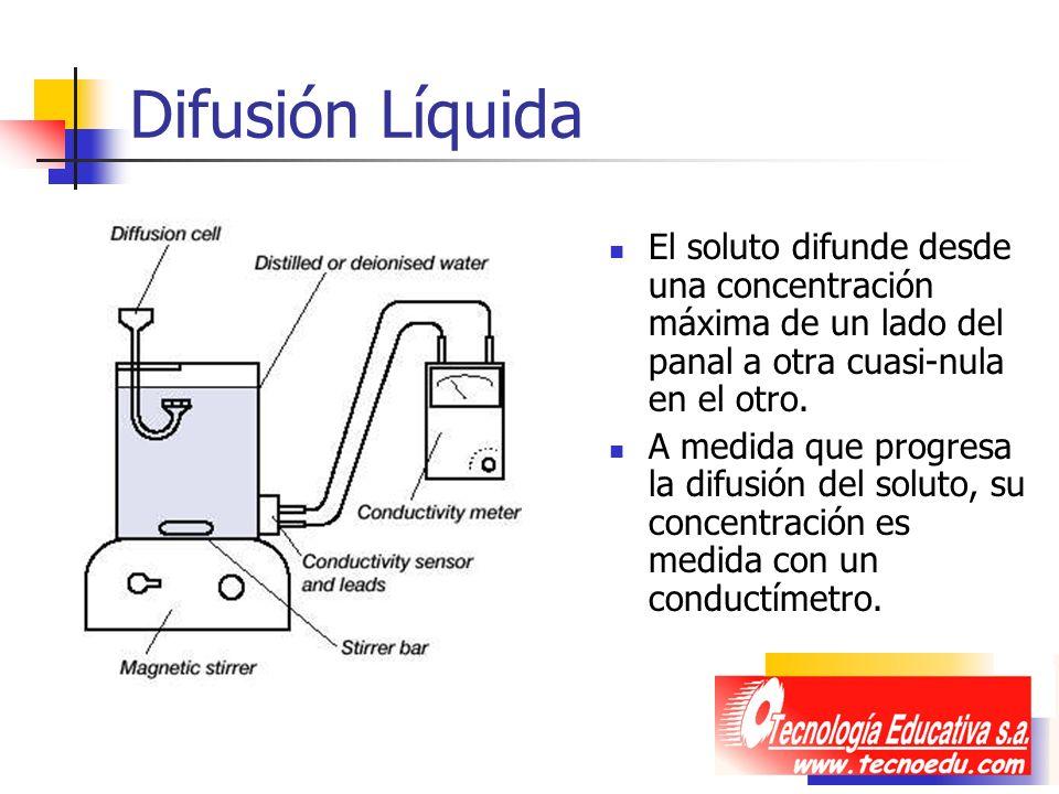 Difusión Líquida El soluto difunde desde una concentración máxima de un lado del panal a otra cuasi-nula en el otro.