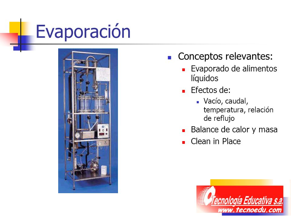 Evaporación Conceptos relevantes: Evaporado de alimentos líquidos
