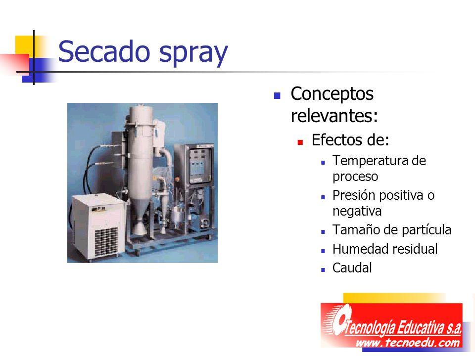 Secado spray Conceptos relevantes: Efectos de: Temperatura de proceso