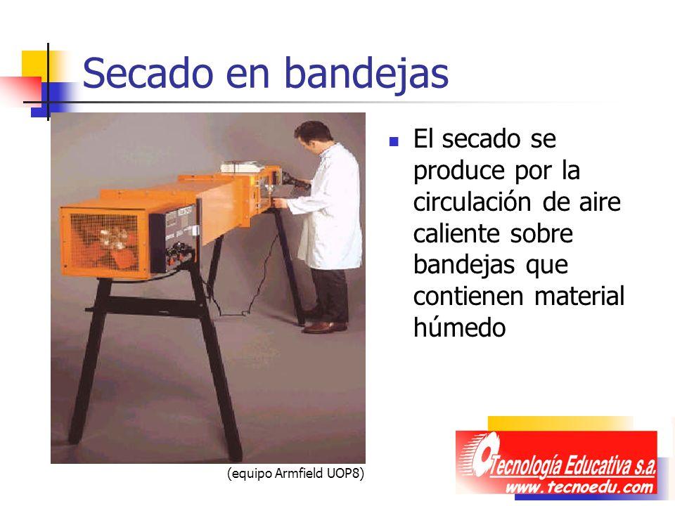 Secado en bandejas El secado se produce por la circulación de aire caliente sobre bandejas que contienen material húmedo.