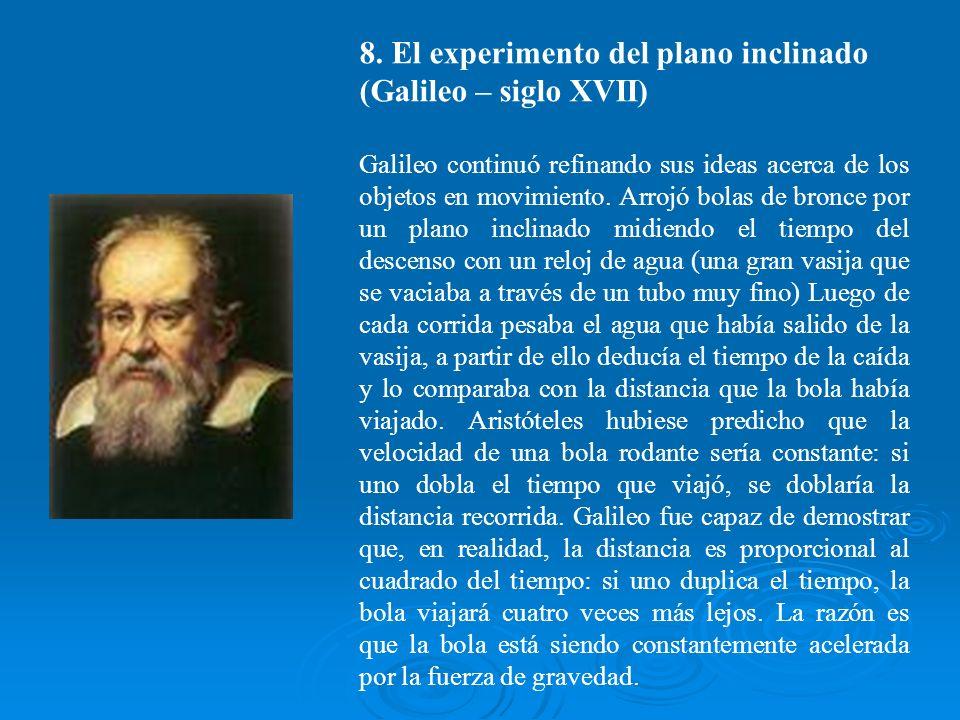 8. El experimento del plano inclinado (Galileo – siglo XVII)