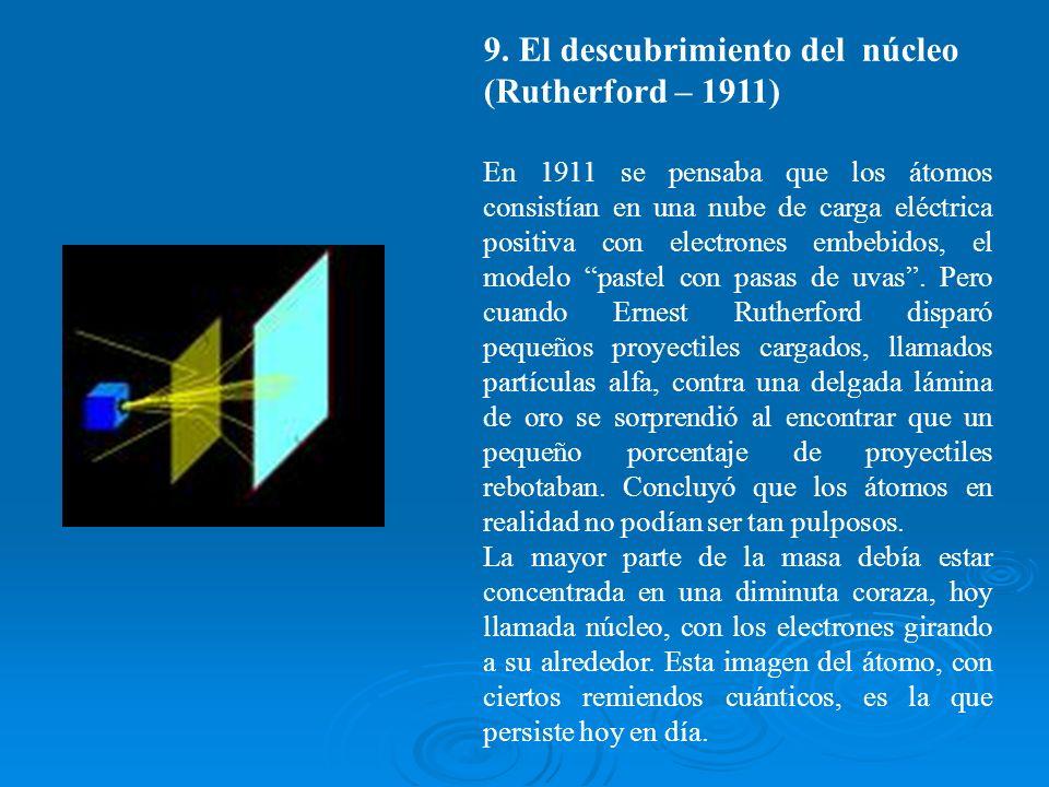 9. El descubrimiento del núcleo (Rutherford – 1911)