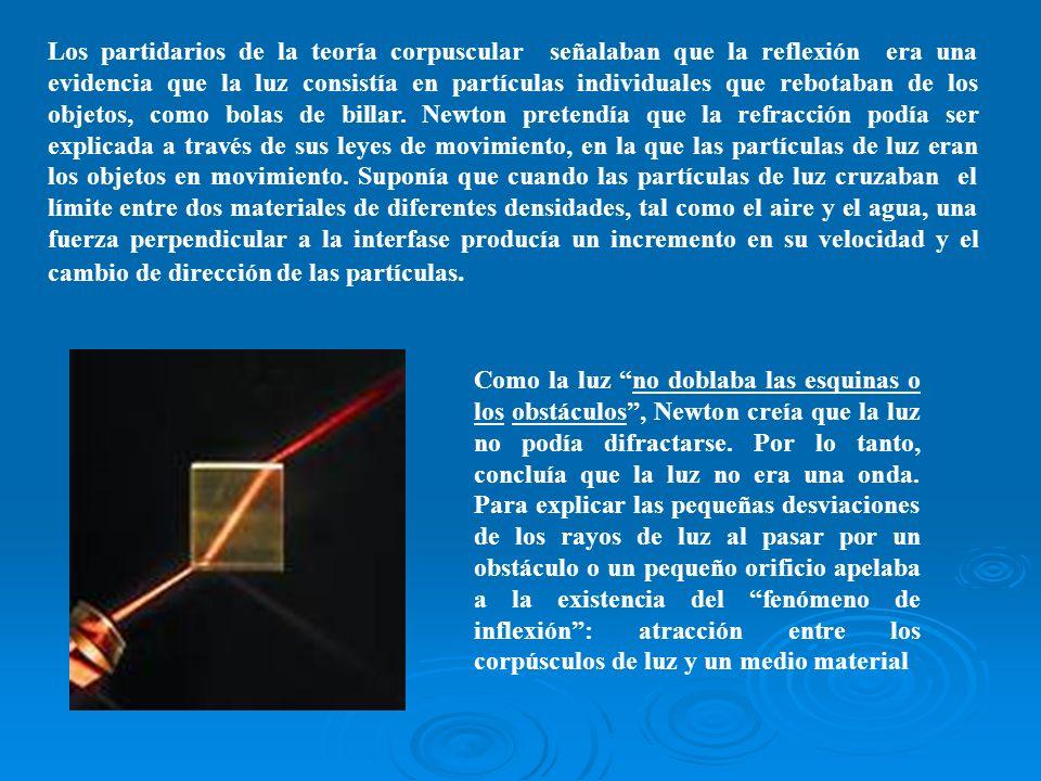 Los partidarios de la teoría corpuscular señalaban que la reflexión era una evidencia que la luz consistía en partículas individuales que rebotaban de los objetos, como bolas de billar. Newton pretendía que la refracción podía ser explicada a través de sus leyes de movimiento, en la que las partículas de luz eran los objetos en movimiento. Suponía que cuando las partículas de luz cruzaban el límite entre dos materiales de diferentes densidades, tal como el aire y el agua, una fuerza perpendicular a la interfase producía un incremento en su velocidad y el cambio de dirección de las partículas.