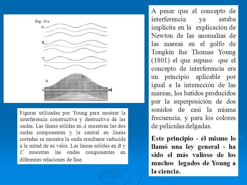 A pesar que el concepto de interferencia ya estaba implícita en la explicación de Newton de las anomalías de las mareas en el golfo de Tongkin fue Thomas Young (1801) el que supuso que el concepto de interferencia era un principio aplicable por igual a la interacción de las mareas, los batidos producidos por la superposición de dos sonidos de casi la misma frecuencia, y para los colores de películas delgadas.