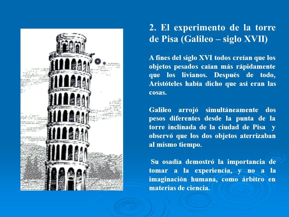 2. El experimento de la torre de Pisa (Galileo – siglo XVII)